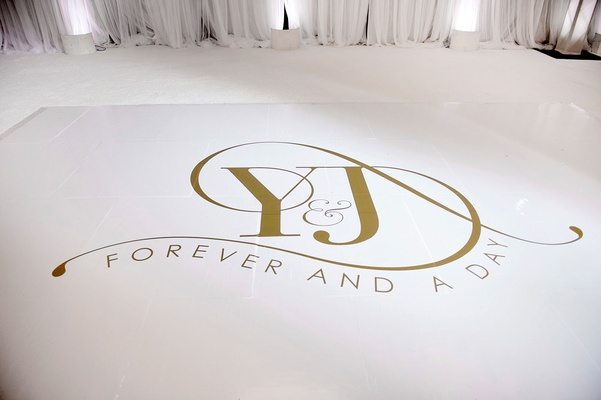 Wedding reception dance floor white with gold monogram initials forever and a day ideas