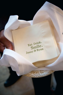 Ivory beverage napkin with green words and names