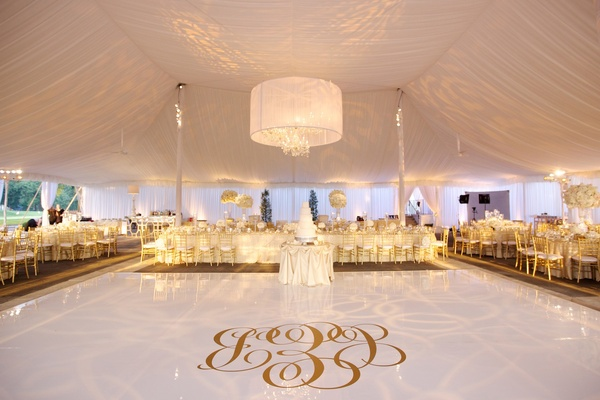 Tent Wedding With Gold Monogram On White Dance Floor
