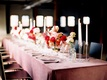 Wedding reception tablescape pink and red decor ideas pink velvet linens tablecloth taper candles