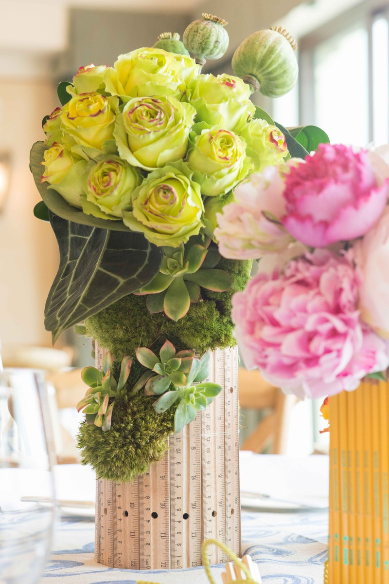 Lime green roses and succulents in ruler vase pink peonies in pencil vase bridal shower