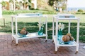White bar carts outside with seashell escort place cards in blue trays with rope circle decor