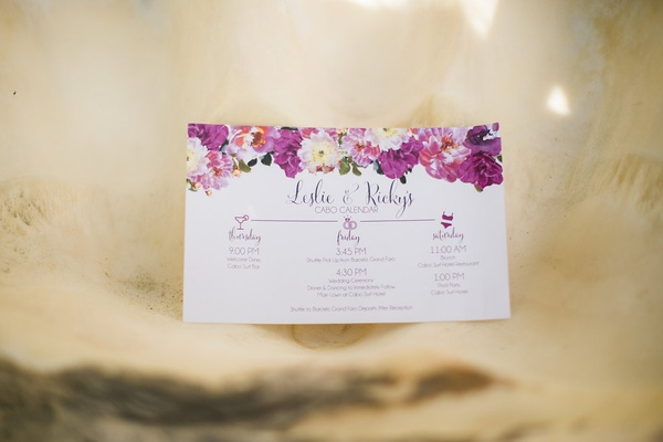a couples wedding weekend itinerary in pink and purple floral design in los cabos mexico