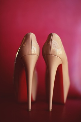 Christian Louboutin bridal heels in nude patent leather
