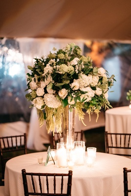 wedding reception centerpiece antique hydrangea garden roses smilax vine gardenia greens magnolia