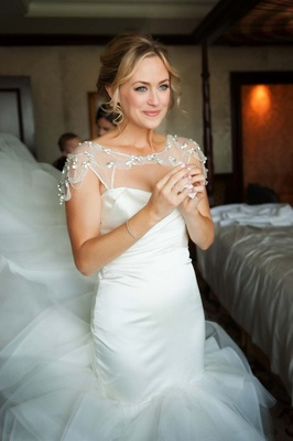 bride in Hayley Paige gown gets ready for wedding