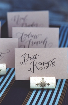 Seating cards in St. Croix corks