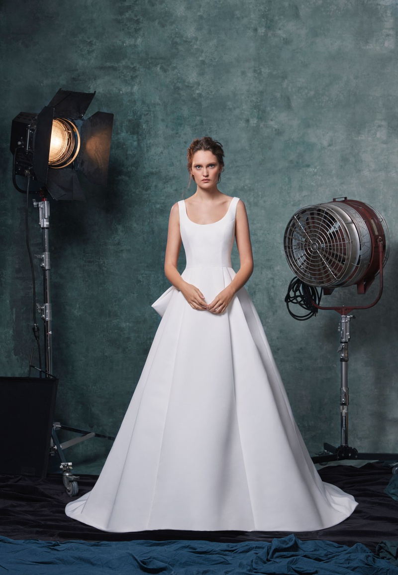 Sareh Nouri fall 2019 bridal collection wedding dress Meryl faille scoop-neck ball gown box pleats