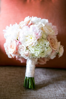 ivory and blush bridal bouquet, roses and hydrangeas rose hydrangea