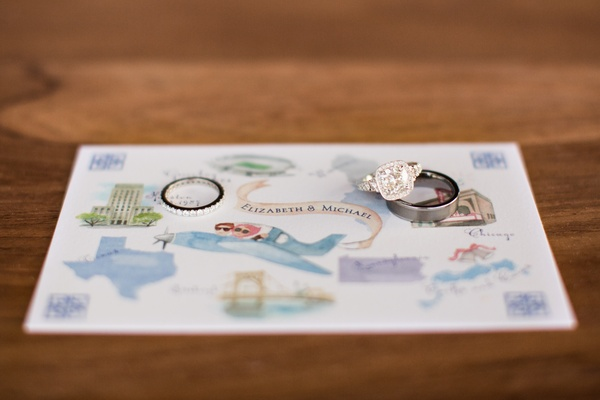 Engagement ring on custom watercolor drawing map