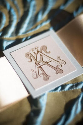 Wedding invitation seal with personalized royal monogram