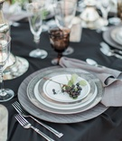 dark china plates black linen rustic chic grapes vineyard wedding california boho bridal reception