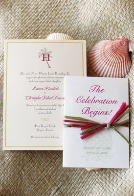 pink and green sea themed invitations and pink seashell