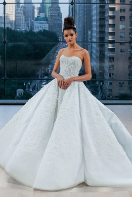 Encrusted off the shoulder sweetheart grand ball gown with natural waist and extended cathedral trai