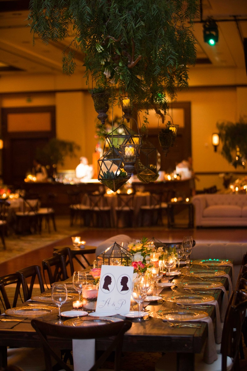 wedding reception places in twin cities%0A     geometric terrariums hanging above tables at wedding reception