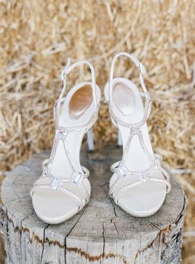 Rene Caovilla strappy bridal wedding shoes