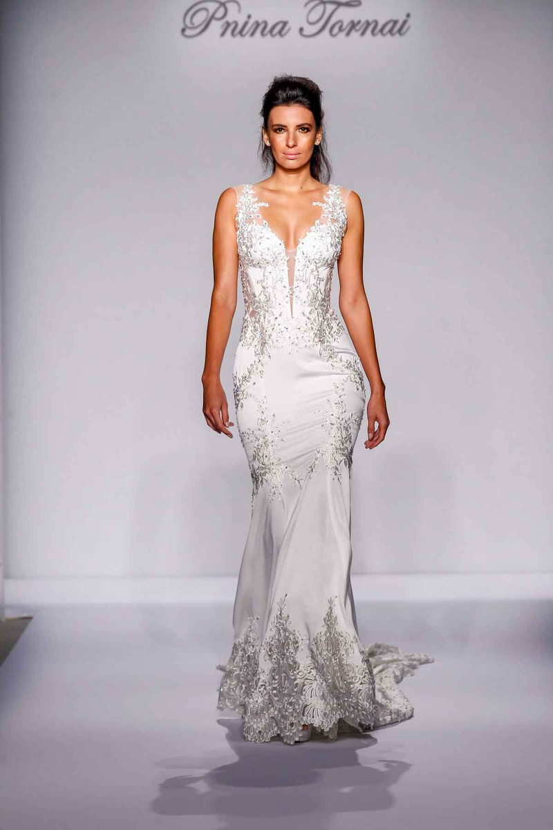 Pnina Tornai for Kleinfeld 2016 fit and flare wedding dress with silver embroidery
