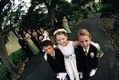 Fish eye photo of formal ring bearers and flower girl
