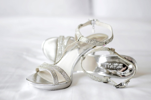 Nine West high heel sandals with sparkly silver straps