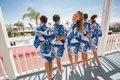bride bridesmaids patterned navy robes leaves tropical hotel del coronado wedding