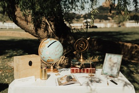 guestbook and gift table at outdoor wedding, card box made from globe