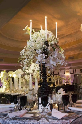 Candelabra decorated with florals and black crystals