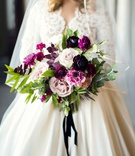 shades of purple cream bridal bouquet wedding styled shoot vintage themed marsala colors roses fall