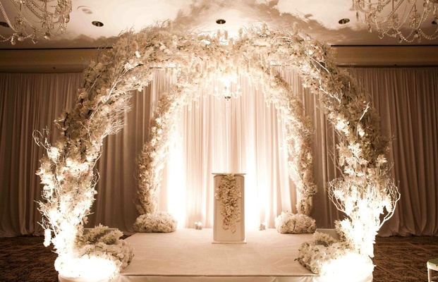 indoor wedding arches. white branch and flower arch for indoor wedding ceremony arches