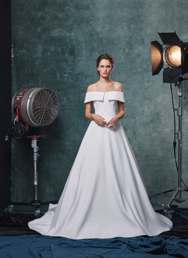 Sareh Nouri fall 2019 bridal collection wedding dress Angelina faille off-the-shoulder ball gown