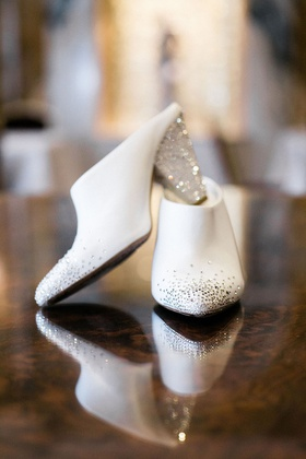 bride wedding shoes white booties mules slip on jewel toe and heel detailing