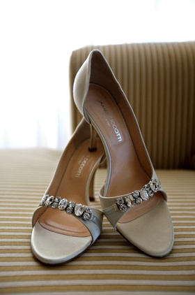 James Ciccotti satin and crystal pumps