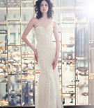 Bride in strapless wnkte Marlis Ines Di Santo wedding dress