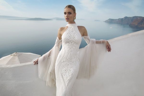 Julie Vino Fall 2016 High Neck Racer Front Wedding Dress With Embroidery And Unique Sleeves