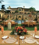 Gold tables in backyard of Italian Renaissance style estate