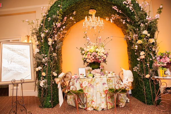 Calligraphy on mirror wedding sign with afternoon tea table in ballroom