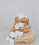 Brunch wedding three-tier pancake cake with white flowers