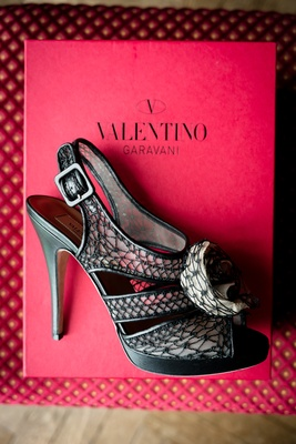 bridal heels black netting Valentino designer unique wedding high open toe