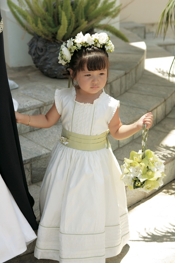 Flower girls ring bearers photos white and green flower girl little girl in chartreuse and ivory floor length dress photographed by bleu cotton photography mightylinksfo