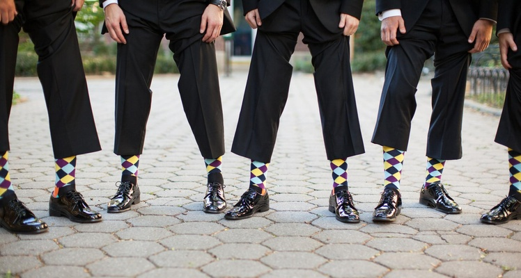 Groom and groomsmen wearing argyle sock