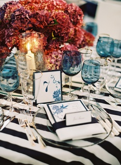 White napkin with blue menu and table number
