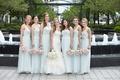 bridesmaids in amsale, bride in vera wang