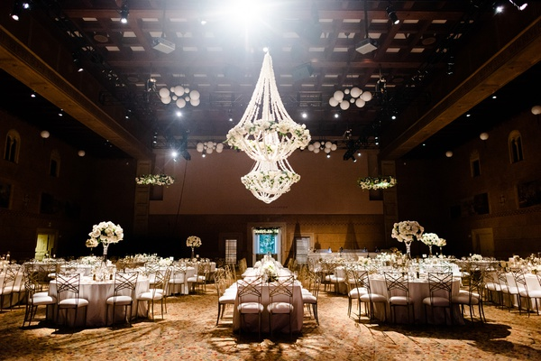 portland art museum wedding reception with floral chandeliers