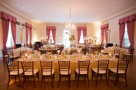Country club ballroom reception with classic decorations