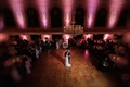 bird's eye view of bride and groom's first dance, everything else out of focus