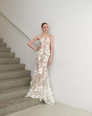 223745acef Francesca Miranda Spring 2019 bridal collection Tamara fit flare illusion  wedding dress 3d flowers.