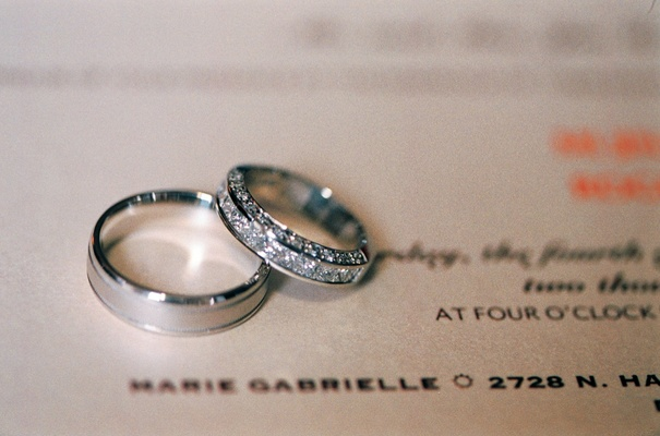 Diamond wedding ring with a man's wedding band