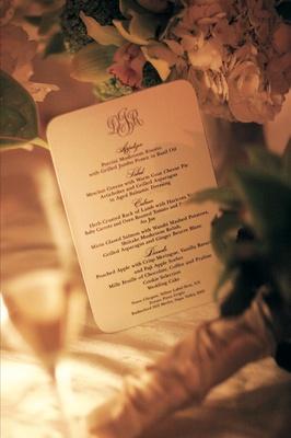 Simple monogrammed wedding reception dinner menu