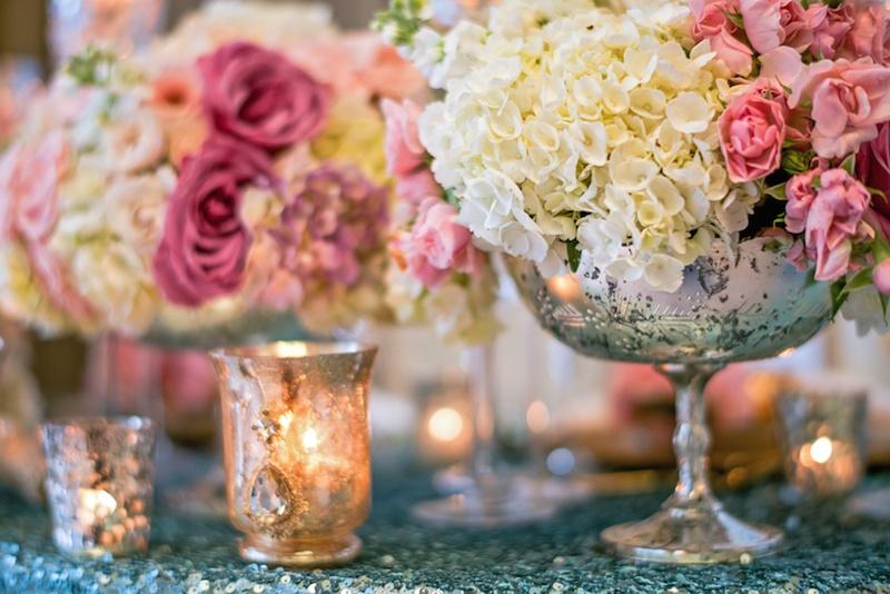 Reception Dcor Photos Mercury Glass Vase On Sequin Table Inside