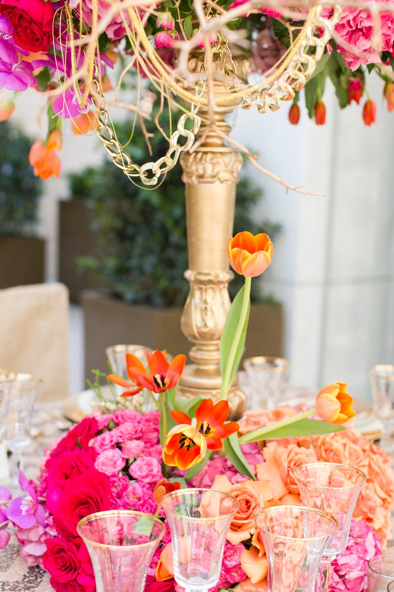 high low floral arrangement bold colors wedding reception table decor fall candelabra