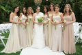 Gold and champagne colored bridesmaid dresses